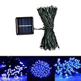 Lionsoul Solar Powered Fairy String Lights 100 LEDs Super Bright with Portable Removable Solar Panel Strands Light Super Suitable for Outdoor (Blue)