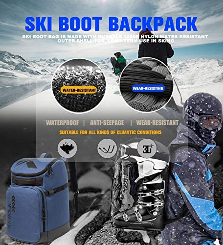 KIRIOUL Ski Boot Bag with Padded Protection, Skiing and Snowboarding Travel Backpack/Luggage with Waterproof Exterior & Bottom Stores Gear Including Helmet, Jacket, Gloves & Accessories for Men/Women