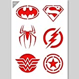 Super Hero Emblem Logos Stencil - Cardboard - A3 42 x 29,7cm - Batman logo width 12cm - painting, crafts, wall, furniture stencil - Reusable kids friendly