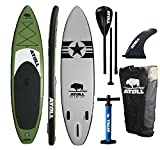 "Atoll 11'0"" Foot Inflatable Stand up Paddle Board, (6 Inches Thick, 32 inches wide) ISUP, Bravo Hand Pump and 3 Piece Paddle, Travel Backpack"