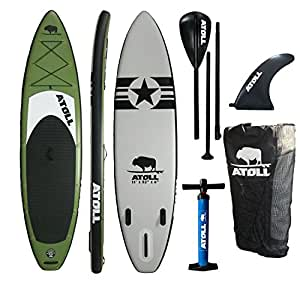 """Atoll 11'0"""" Foot Inflatable Stand up Paddle Board, (6 Inches Thick, 32 inches wide) ISUP, Bravo Hand Pump and 3 Piece Paddle, Travel Backpack"""