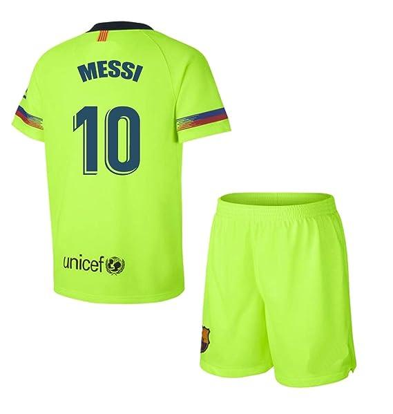Barcelona Conjunto Camiseta y pantalón 2ª equipación 2018-2019 - Replica  con Licencia - Dorsal 10 Messi - Niño Talla 4 - Medidas Pecho 31.5 - Largo  Total 46 ... 8a7f867675e9a