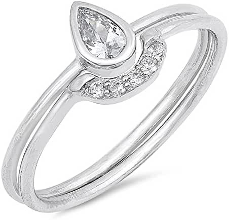 CHOOSE YOUR COLOR Sterling Silver Teardrop Set Ring
