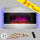 AKDY 36″ Tempered Glass Stainless Steel Wall Mount Type Adjustable Flame LED Backlight Electric Fireplace Stove Log & Pebble 2-in-1