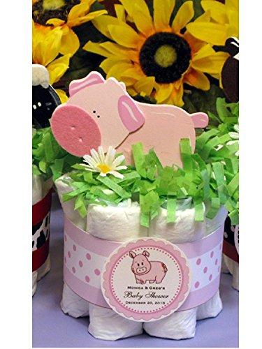 LITTLE PIGGY Funny Farm Animals BARNYARD FRIENDS Baby Shower Mini Diaper Cakes Centerpieces