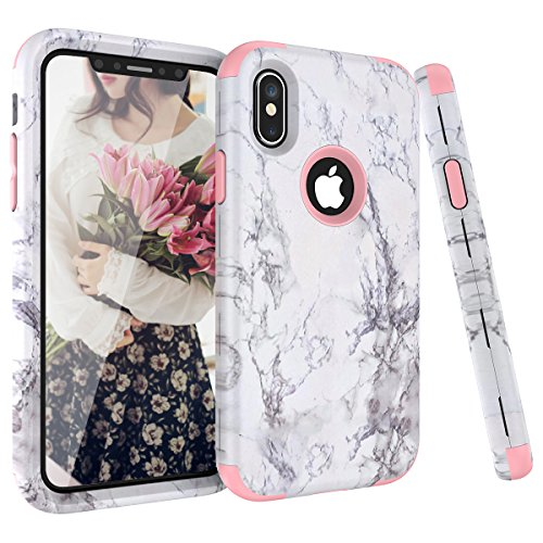 iPhone X Case, Dexnor TPU Rubber Silicone + Plastic Dual Layer Marble Hard Case Full Body Anti Scratch Shock-Absorbing Heavy Duty Protective Defender Back Cover for iPhone X/ iPhone 10 (5.8 inch)