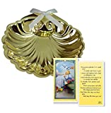 Inspire Nation Baptismal Shell Gold Finish with Baby Baptism Holy Prayer Laminated Card Set