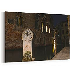Westlake Art Street Night - 12x18 Canvas Print Wall Art - Canvas Stretched Gallery Wrap Modern Picture Photography Artwork - Ready to Hang 12x18 Inch (268F-37D01)