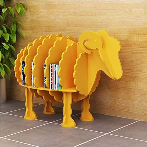 - MZT Sheep-Shaped Creative Bookshelf Shelf Entrance Hall Porch Sofa Side Clothing Shop Window Floor Decoration Decoration,Yellow,S