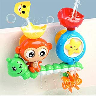G-WACK Bath Toys for Toddlers Age 1 2 3 Year Old Girl Boy, Preschool New Born Baby Bathtub Water Toys, Durable Interactive Multicolored Infant Toy, Lovely Monkey Caterpillar, 2 Strong Suction Cups