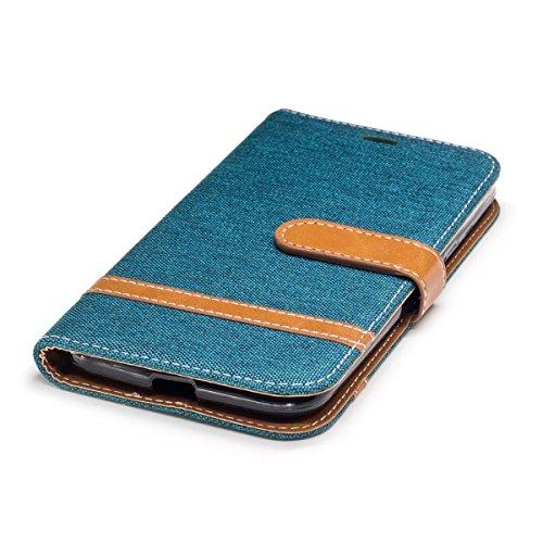 Motorola Moto G4 /G4 Plus 5.5 Funda Azul oscuro, MEETER Libro PU Cuero Case Con Flip case cover, Cierre Magnético, Función de Soporte, Tarjeta y efectivo titular, Billetera con Tapa para Motorola Mo Verde