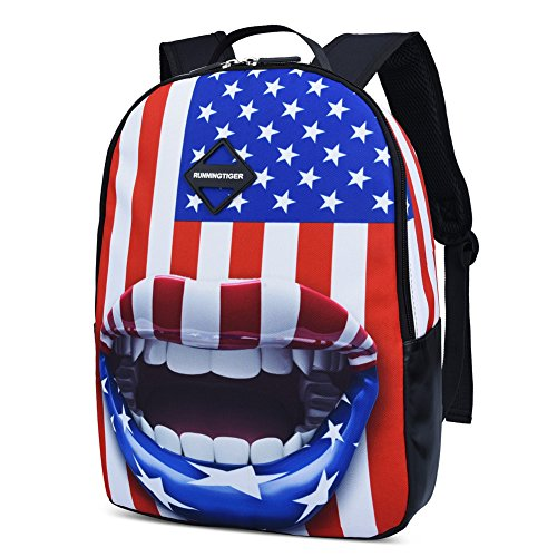 Vbiger Travel Backpack Laptop Backpack 14 Inch Waterproof for Kids (American Flag)