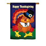 Breeze Decor H113037 Happy Turkey Fall Thanksgiving Vertical House Flag, 28″ x 40″, Multi-Color Review