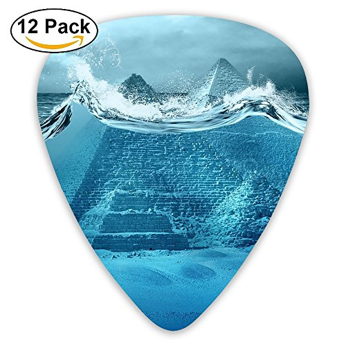 12-pack Fashion Classic Electric Guitar Picks Plectrums Pyramids Of Egypt In Waves Storm Instrument Standard Bass Guitarist