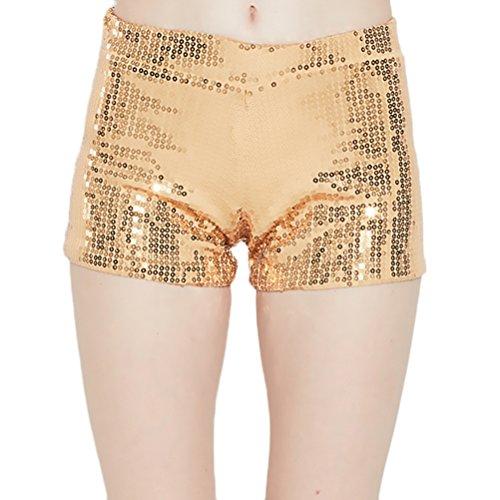 Oro Per Eleganti Shorts Pantaloni Pantaloncini Moda Festa Party Paillettes Glitter Hop Balli Hip Corti Vintage Ragazza Fashionable Cocktail Abbigliamento Donna Hpf5qpw6