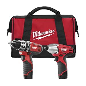 Milwaukee 2497-22 M12 12-Volt Cordless Lithium-Ion 2-Tool Combo Kit Hammer Drill and Impact Driver