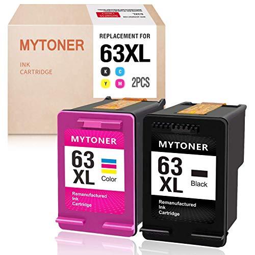 (MyToner Remanufactured Ink Cartridge for HP 63XL 63 XL 63 Ink for Officejet 5255 5258 3830 4650 3833 4655 Envy 4520 4512 4516 Deskjet 1112 2130 2131 3630 3633 3634)