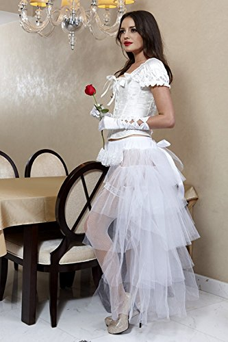 Fancy White Lo Hi wenxuan Tutu Party Tulle Skirt Women's Long Dress Layered w8A8q6P