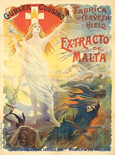Gubler y Cousino - Extracto de Malta Vintage Poster (artist: Pal Jean De Paleologue) France c. 1885 (24x36 SIGNED Print Master Giclee Print w/ Certificate of Authenticity - Wall Decor Travel Poster) (Lantern Malta)