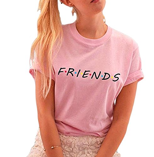 FCYOSO Teen Girl Funny Friends Print Graphic T-Shirt Women Cute Cotton Tops X-Large Pink ()