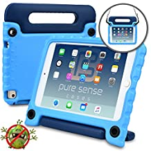 Apple iPad Mini 4 case for kids -  [ANTI MICROBIAL IPAD MINI 4 KIDS CASE] PURE SENSE BUDDY Child Proof Shock Protective Cover for Boys | Shoulder Strap, Handle, Cleaning Kit, Screen Protector (Blue)