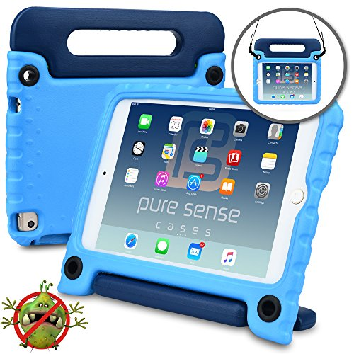 Buddies Blue Cars (Pure Sense Buddy Kids Case Compatible Apple iPad Mini 4 | Anti Microbial Heavy Duty Shock Proof Cover Kids | Protective Case Boys, Girls | Shoulder Strap, Handle & Stand | A1538 A1550 (Blue))