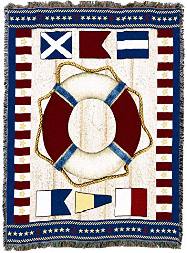 Pure Country Weavers | Stars and Stripes Nautical Decor Woven Tapestry Throw Blanket Cotton with Fringe Cotton USA 72x54