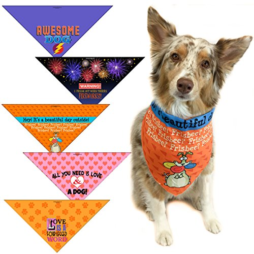 5 pc Fun Dog Bandana - Med to Large Dogs - From Funny to Adorable Dog Scarf Accessories - Great Dog Gift by Stonehouse Collection