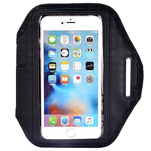 eBuymore Premium Outdoors Running Sports GYM Armband Pouch Case for iPhone 7 Plus / Samsung Galaxy J7 / S7 Edge / Motorola Moto G4 Plus / Moto Z Force / Alcatel Pop 4+ / Pop 4S (Black)