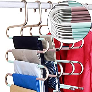 DOIOWN S-Type Stainless Steel Clothes Pants Hangers Closet Storage Organizer for Pants Jeans Scarf Hanging (14.17 x 14.96ins, Set of 3) (5-Pieces-Teal&Pink(Upgrade Style))