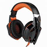 PS4 Gaming Headset, YKS Xbox One PS4 Gaming Headphone with Omnidirectional Microphone, Volume Control, USB LED Light for PS4 PC Xbox Laptop Mac Playstation4(Black & Orange)