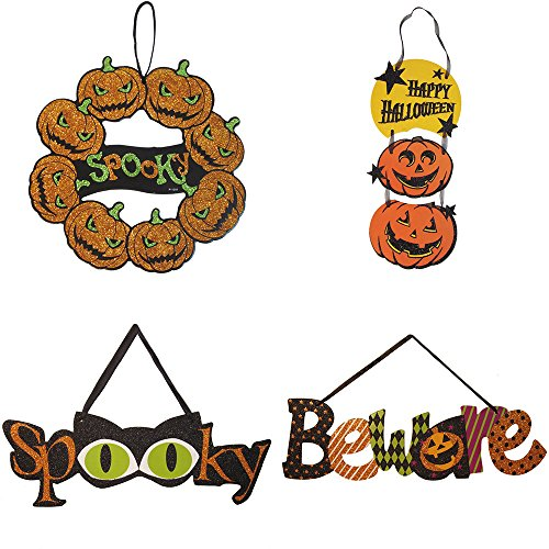 Native Spring 4-pk Pumpkins Wreath Spooky Beware Scary Glitter Skeleton Ghost Hanging Decorations Value Pack Best for Halloween Haunted House Party -
