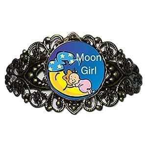 Chicforest Bronze Retro Style Moon Girl Flower Cuff Bracelet