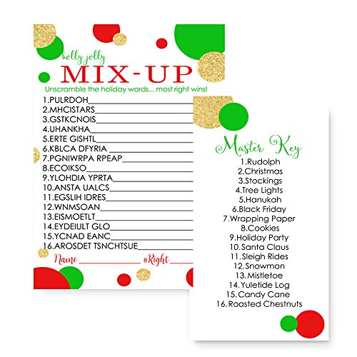 Christmas Word Scramble.Red And Gold Christmas Word Scramble Party Game Set 25