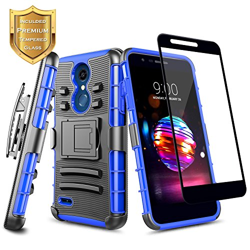 LG K30 Case, Xpression Plus/Premier Pro/Phoenix Plus /K10 2018 /Harmony 2 w/[Full Cover Tempered Glass Screen Protector], NageBee Belt Clip Holster Heavy Duty Shockproof Kickstand Rugged Case -Blue