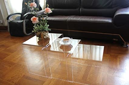 DisplayGifts AC TB1 Clear Acrylic Nesting Table Coffee End Table 3pc Lucite  Side Table Set
