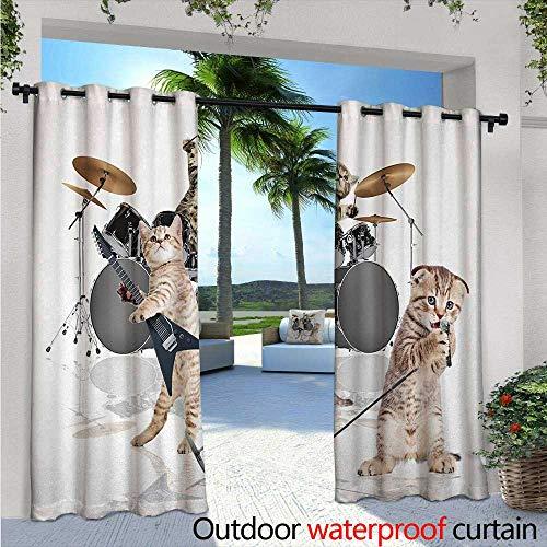 BlountDecor Animal Indoor/Outdoor Single Panel Print Window Curtain Cool Fancy Hard Cute Rocker Band of Kittens with Singer Guitarist Cats Artwork Print Silver Grommet Top Drape W108 x L96 Multicolor -