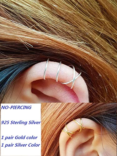 caoli 925 Sterling Silver 4pcs Silver and Gold no Piercing Ear Cuff (2 pcs doule & 2pcs Cross line) Helix Fake Cartilage Earring