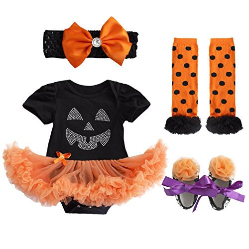 FEESHOW Infant Baby Girls Pumpkin First Halloween Costume Tutu Romper Outfit Set Black Skull 3-6 Months