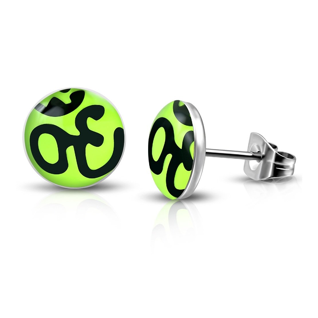 Pair Stainless Steel 3 Color Ohm Symbol Hindu Religious Lemon Green Circle Stud Earrings