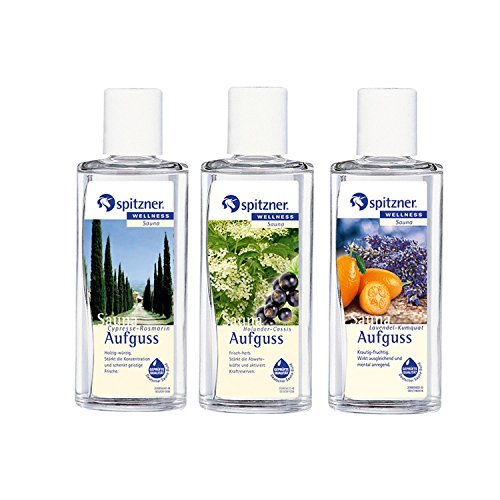 Provence Sauna Infusion: Cypress & Rosemary, Elderberry & Cassis, Lavender & Kumquat (3x190ml) from Spitzner