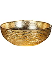Luxury Gold Painted Ceramic Wash Basin Round Porcelain Above Counter Sink For Bar And Small Cloakroom Chinese Hand Carved Vanity Bowl