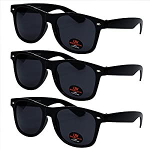 Classic Wayfarer Style Sunglasses by Ray Solée - Tinted Lenses with UVA & UVB Protection - 3 Pair Party Pack for Men, Women & Kids (Black)