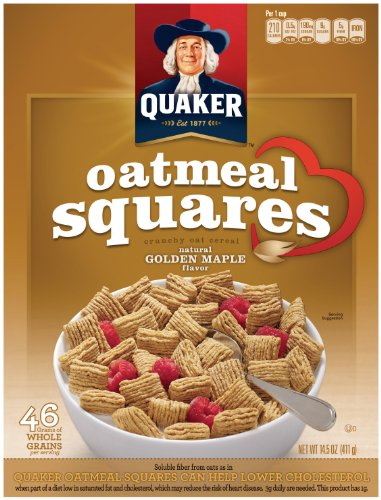 Quaker Oatmeal Squares, Golden Maple, 14.5-Ounce (Pack of 4) (Maple Grain 4)