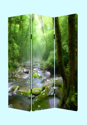 6 Ft Tall Solid Frame Fabric Room Divider 4 Panels: Roundhill Furniture 3-Panel Oriental Shoji Room Divider