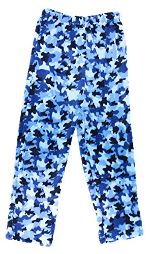 Prince of Sleep Plush Pajama Pants - Fleece PJs for Boys, Blue Camouflage, Boys' 8 (Fleece Boys Pant Sleep)
