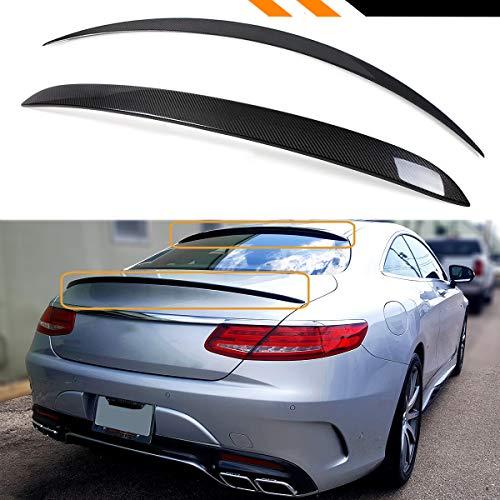 Cuztom Tuning Fits for 2015-2018 Mercedes Benz W222 S550 S63 S65 2 Door Coupe Carbon Fiber Rear Window Roof Spoiler + VIP Trunk Lid Spoiler (2015 Mercedes Benz S63 Amg Coupe 4matic)