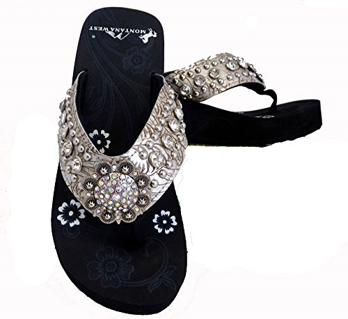 Montana West Women Flip Flops Wedged Bling Sandals Large Floral Concho Beige ()