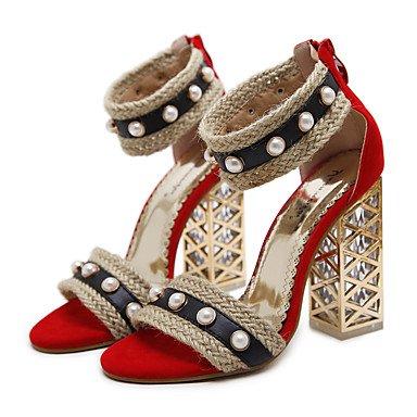 Confort Similicuir Pour Bottes Us5 Chaussures Casual Femme Rouge Fschooly Nouveaut Et 5 5 Sandales Eu36 Cn35 Mariage Printemps Talon Uk3 Chunky Noir Rouge nqXgxPxE