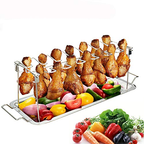 HomeYoo Chicken Wing Leg Grill Rack, Chicken Leg Stainless Steel Grilling Rack, Collapsible BBQ Drip Pan Rack Holder Kitchen Tools Oven Accessories (Silver)